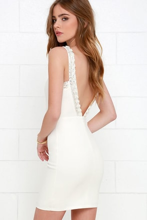Downpour of Decadence Ivory Beaded Dress at Lulus.com!