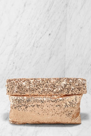 Glinty Pleasure Rose Gold Sequin Clutch at Lulus.com!