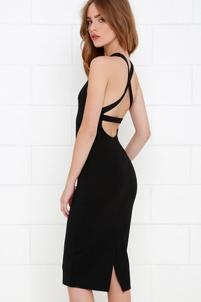 Sleek of Nature Brown Bodycon Midi Dress at Lulus.com!