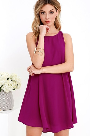 Better Believe It Magenta Shift Dress at Lulus.com!