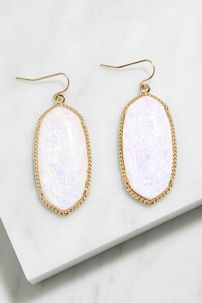 Magnum Opal White Iridescent Earrings at Lulus.com!