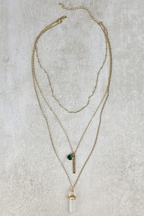 Best of Three Green and White Layered Necklace at Lulus.com!