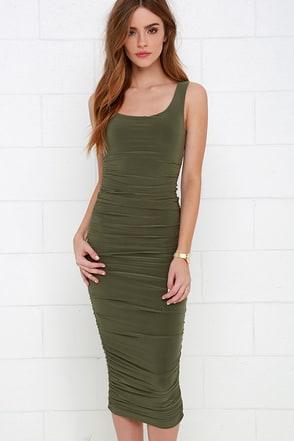 Posh and Polished Olive Green Midi Dress at Lulus.com!