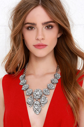 Resplendent Silver and Rhinestone Statement Necklace at Lulus.com!