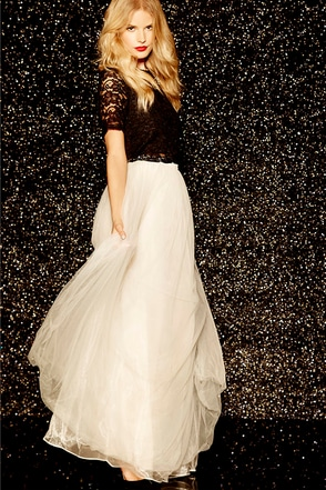 Scoop of Sorbet Cream Tulle Maxi Skirt at Lulus.com!