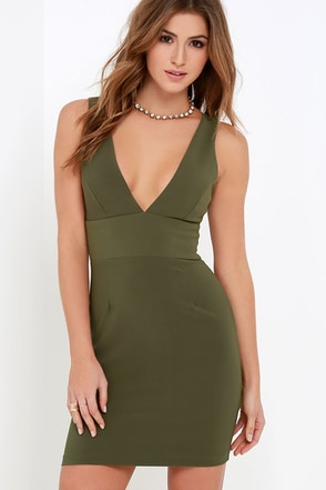 Sultry Saunter Olive Green Bodycon Dress at Lulus.com!