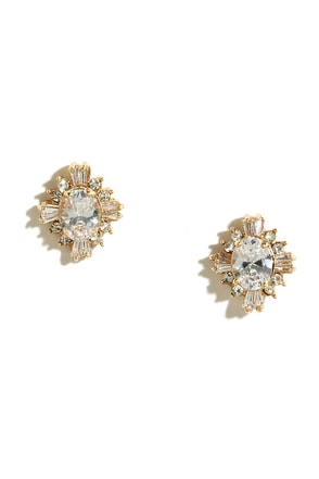 Fascinating Find Gold Rhinestone Earrings at Lulus.com!