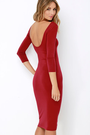True To You Wine Red Midi Dress at Lulus.com!