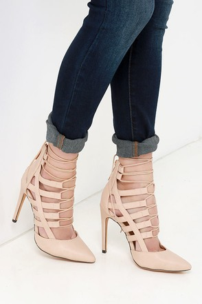 Want You to Stay Nude Lace-Up Heels at Lulus.com!