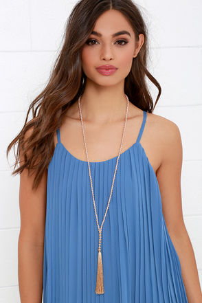 Can't Be Bead Grey Tassel Necklace at Lulus.com!