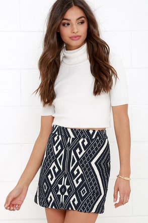 Glamorous Rain Dance Cream and Navy Blue Jacquard Mini Skirt at Lulus.com!