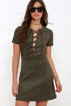 Closet Renovation Olive Green Suede Lace-Up Dress at Lulus.com!