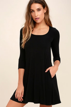Twirl Power Black Swing Dress at Lulus.com!