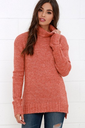 Mink Pink Curious Terra Cotta Tunic Sweater at Lulus.com!