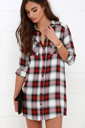 Jack by BB Dakota Brielle Red Plaid Shirt Dress at Lulus.com!
