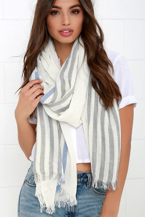 Blown Away Grey and Ivory Striped Scarf at Lulus.com!