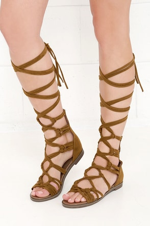 First Empress-ion Tan Suede Lace-Up Gladiator Sandals at Lulus.com!