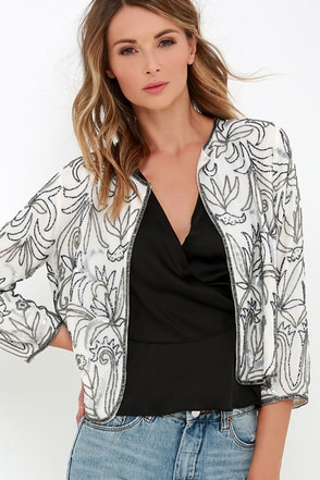 Curtsy and Bow Ivory Beaded Jacket at Lulus.com!