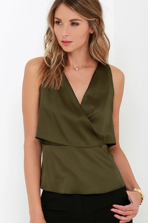 Go Figure Olive Green Satin Top at Lulus.com!
