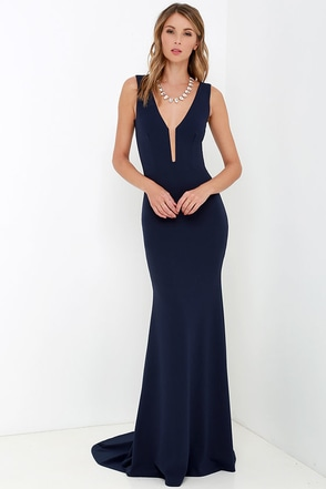 Party Calendar Navy Blue Maxi Dress at Lulus.com!
