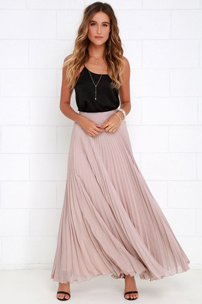 Axis of Rotation Mauve Pleated Maxi Skirt at Lulus.com!