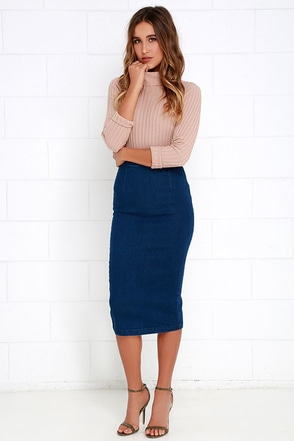 Glamorous Be-Bop Baby Blue Denim Midi Skirt at Lulus.com!