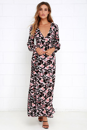 Mink Pink Crafty Critters Black Floral Print Maxi Dress at Lulus.com!