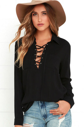 Stylistic Reins Black Long Sleeve Lace-Up Top at Lulus.com!
