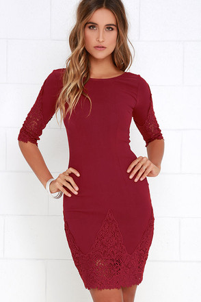 Myriad of Possibilities Wine Red Lace Dress at Lulus.com!