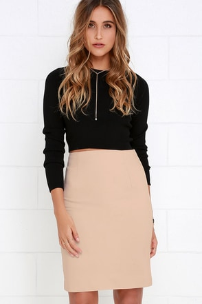 Sophisticated Style Beige Pencil Skirt at Lulus.com!