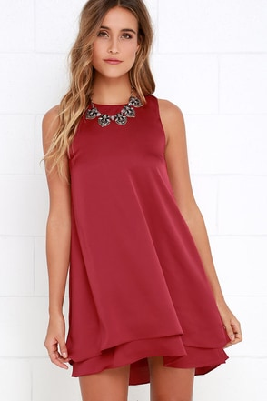 Moonlit Masquerade Wine Red Swing Dress at Lulus.com!