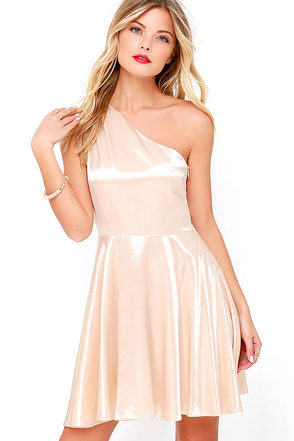 Shining for You Cream Satin One Shoulder Dress at Lulus.com!