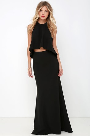 Cool, Calm, and Collected Black Two-Piece Maxi Dress at Lulus.com!