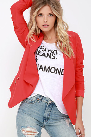 Totally Boss Cropped Red Blazer at Lulus.com!