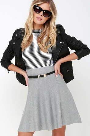 Depth of Field Grey Skater Skirt at Lulus.com!