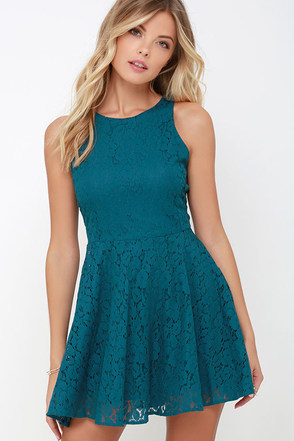 Lucy Love Hollie Jean Teal Blue Lace Skater Dress at Lulus.com!