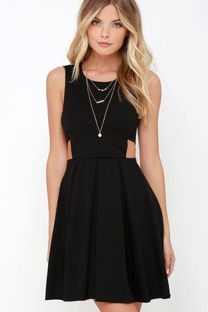 Turn Up the Pleat Black Skater Dress at Lulus.com!