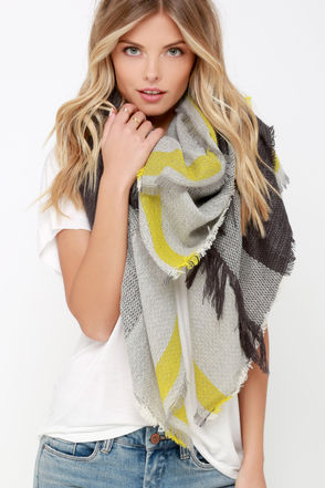 Wholehearted Hurrah Green and Grey Scarf at Lulus.com!