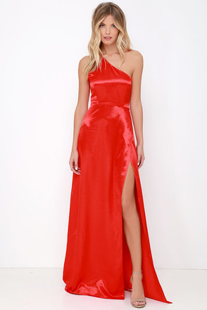 Starlet Loose Red Satin One Shoulder Maxi Dress at Lulus.com!
