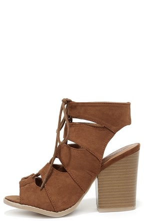 Honey Babe Dark Rust Suede Block Heel Lace-Up Sandals at Lulus.com!