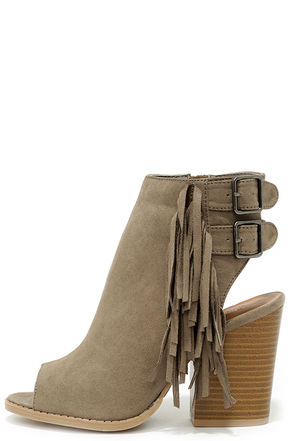All the Answers Taupe Suede Fringe Booties at Lulus.com!