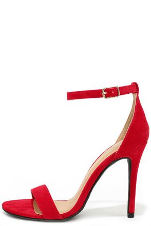 LULUS Chloe Red Suede Ankle Strap Heels at Lulus.com!
