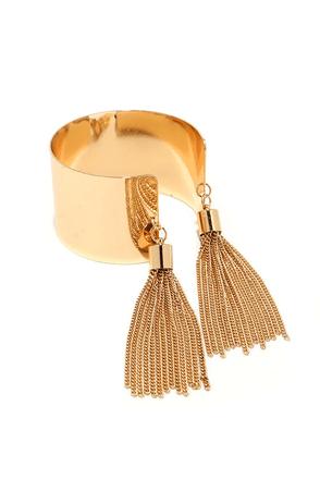 Tassel Tamer Gold Cuff Bracelet at Lulus.com!