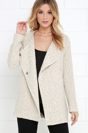 Please and Swank You Beige Boucle Coat at Lulus.com!
