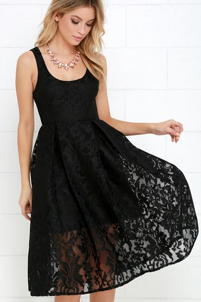 Sweet Rhapsody Black Lace Midi Dress at Lulus.com!