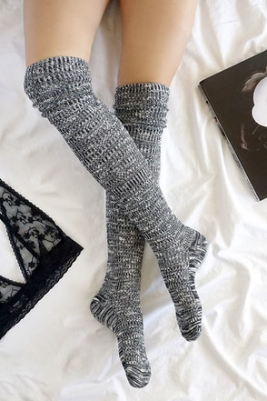 Cozy Grove Black and Ivory Over the Knee Socks at Lulus.com!