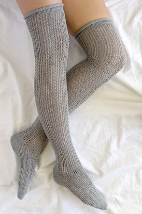 Winsome Wanderer Grey Over the Knee Socks at Lulus.com!