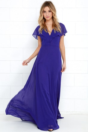 Elegant Arrival Royal Blue Maxi Dress at Lulus.com!