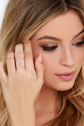 Quiet Curtsy Gold Rhinestone Ring at Lulus.com!