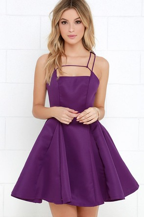 Gift of Rhyme Purple Skater Dress at Lulus.com!
